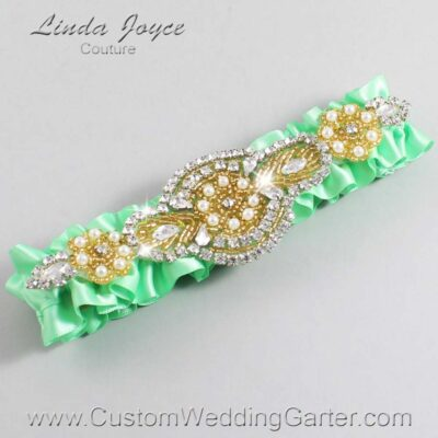 Mint and Gold Wedding Garter / Green Wedding Garters / Charlotte #01-A05-531-Mint_Gold / Wedding Garters / Custom Wedding Garters / Bridal Garter / Prom Garter / Linda Joyce Couture