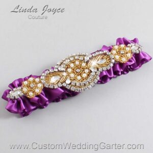 Helio and Gold Wedding Garter / Purple Wedding Garters / Charlotte #01-A05-541-Helio_Gold / Wedding Garters / Custom Wedding Garters / Bridal Garter / Prom Garter / Linda Joyce Couture