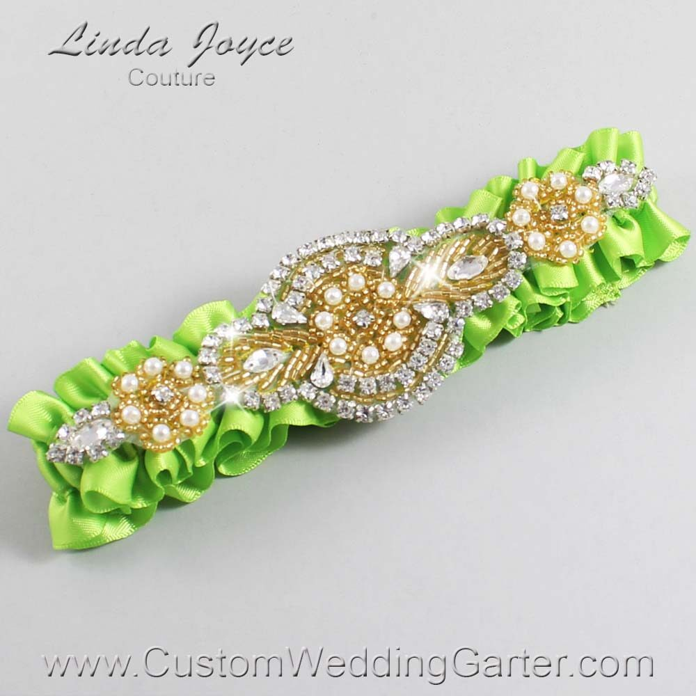 Green Yellow and Gold Wedding Garter / Green Wedding Garters / Charlotte #01-A05-550-Green-Yellow_Gold / Wedding Garters / Custom Wedding Garters / Bridal Garter / Prom Garter / Linda Joyce Couture
