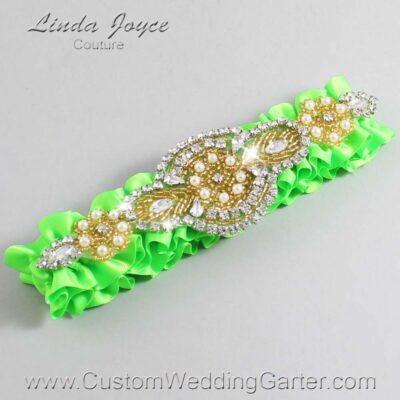 Acid Green and Gold Wedding Garter / Green Wedding Garters / Charlotte #01-A05-556-Acid-Green_Gold / Wedding Garters / Custom Wedding Garters / Bridal Garter / Prom Garter / Linda Joyce Couture