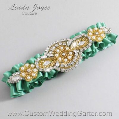 Celadon and Gold Wedding Garter / Green Wedding Garters / Charlotte #01-A05-564-Celadon_Gold / Wedding Garters / Custom Wedding Garters / Bridal Garter / Prom Garter / Linda Joyce Couture