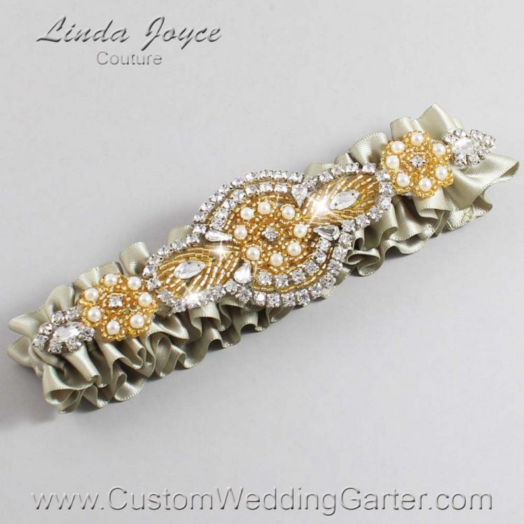 Olive Gray and Gold Wedding Garter / Green Wedding Garters / Charlotte #01-A05-565-Olive-Gray_Gold / Wedding Garters / Custom Wedding Garters / Bridal Garter / Prom Garter / Linda Joyce Couture