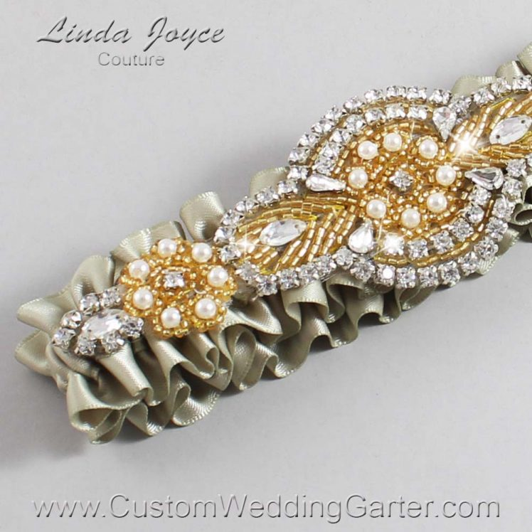 Olive Gray Wedding Garter / Green Wedding Garters / Wedding Garter / Custom Wedding Garter / Linda Joyce Couture / Charlotte #01-A05-565-Olive-Gray_Gold