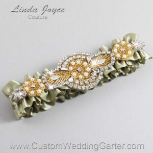 Soft Pine and Gold Wedding Garter / Green Wedding Garters / Charlotte #01-A05-566-Soft-Pine_Gold / Wedding Garters / Custom Wedding Garters / Bridal Garter / Prom Garter / Linda Joyce Couture