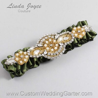 Moss and Gold Wedding Garter / Green Wedding Garters / Charlotte #01-A05-570-Moss_Gold / Wedding Garters / Custom Wedding Garters / Bridal Garter / Prom Garter / Linda Joyce Couture