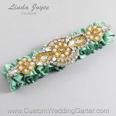 Sage Green and Gold Wedding Garter / Green Wedding Garters / Charlotte #01-A05-577-Sage-Green_Gold / Wedding Garters / Custom Wedding Garters / Bridal Garter / Prom Garter / Linda Joyce Couture