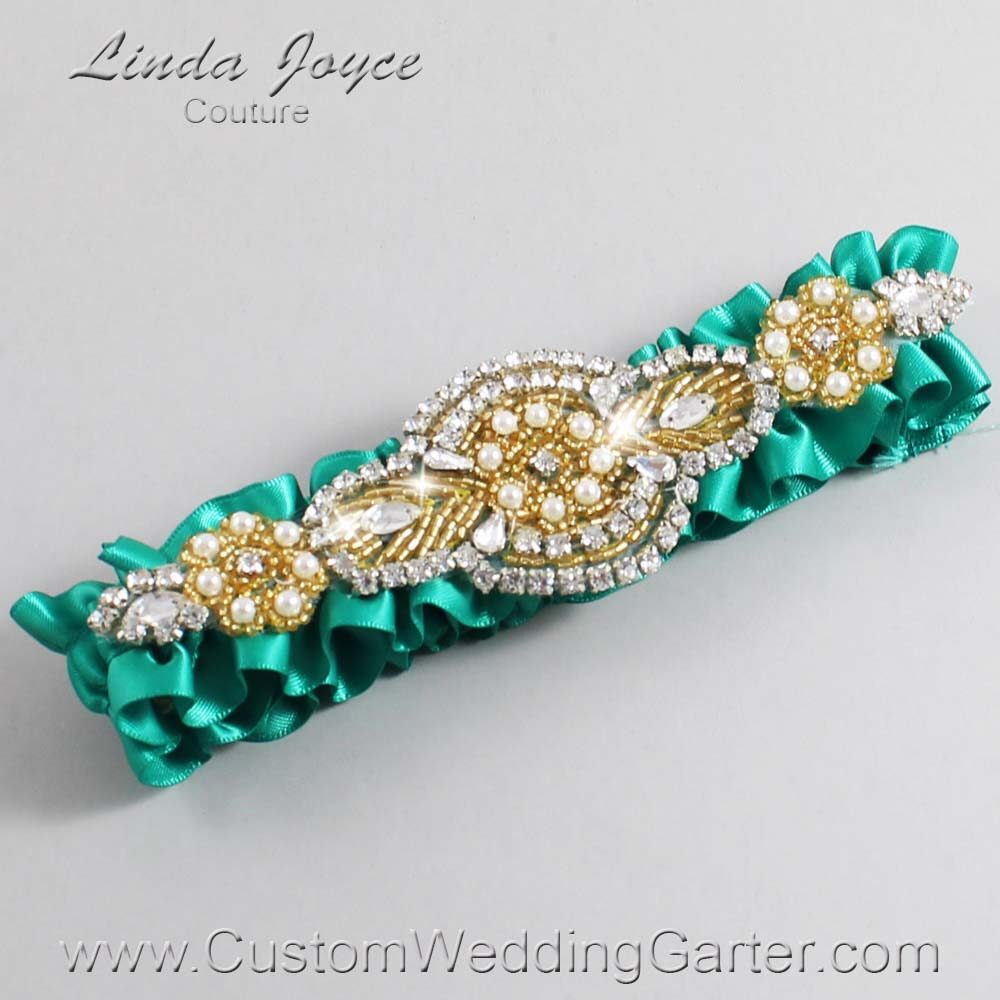 Parrot Green and Gold Wedding Garter / Teal Wedding Garters / Charlotte #01-A05-583-Parrot-Green_Gold / Wedding Garters / Custom Wedding Garters / Bridal Garter / Prom Garter / Linda Joyce Couture