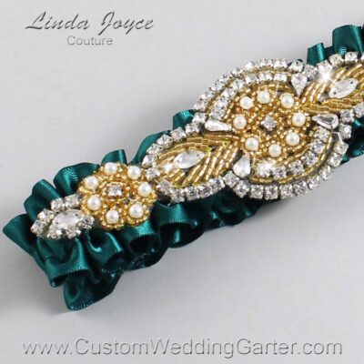 Jungle Green and Gold Wedding Garter / Green Wedding Garters / Charlotte #01-A05-589-Jungle-Green_Gold / Wedding Garters / Custom Wedding Garters / Bridal Garter / Prom Garter / Linda Joyce Couture