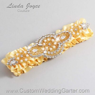 Chamois and Gold Wedding Garter / Yellow Wedding Garters / Charlotte #01-A05-614-Chamois_Gold / Wedding Garters / Custom Wedding Garters / Bridal Garter / Prom Garter / Linda Joyce Couture