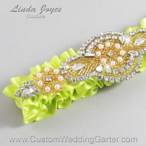 Pineapple and Gold Wedding Garter / Yellow Wedding Garters / Charlotte #01-A05-625-Pineapple_Gold / Wedding Garters / Custom Wedding Garters / Bridal Garter / Prom Garter / Linda Joyce Couture