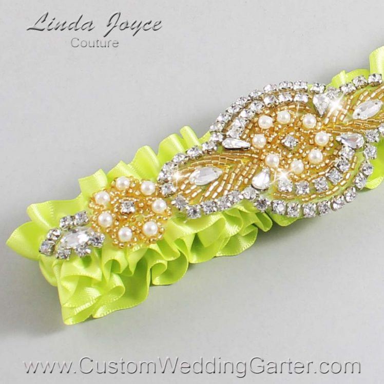 Pineapple Wedding Garter / Yellow Wedding Garters / Wedding Garter / Custom Wedding Garter / Linda Joyce Couture / Charlotte #01-A05-625-Pineapple_Gold
