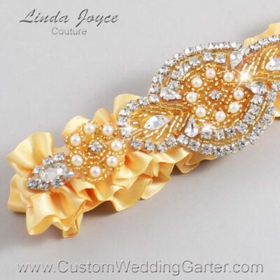 Buttercup and Gold Wedding Garter / Yellow Wedding Garters / Charlotte #01-A05-644-Buttercup_Gold / Wedding Garters / Custom Wedding Garters / Bridal Garter / Prom Garter / Linda Joyce Couture