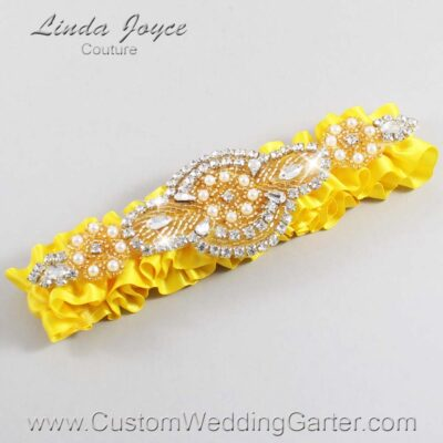 Sunglow and Gold Wedding Garter / Yellow Wedding Garters / Charlotte #01-A05-645-Sunglow_Gold / Wedding Garters / Custom Wedding Garters / Bridal Garter / Prom Garter / Linda Joyce Couture