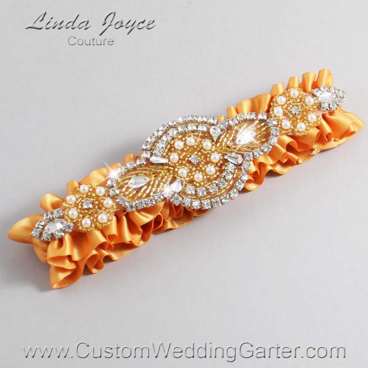 Gold and Gold Wedding Garter / Gold Wedding Garters / Charlotte #01-A05-675-Gold_Gold / Wedding Garters / Custom Wedding Garters / Bridal Garter / Prom Garter / Linda Joyce Couture