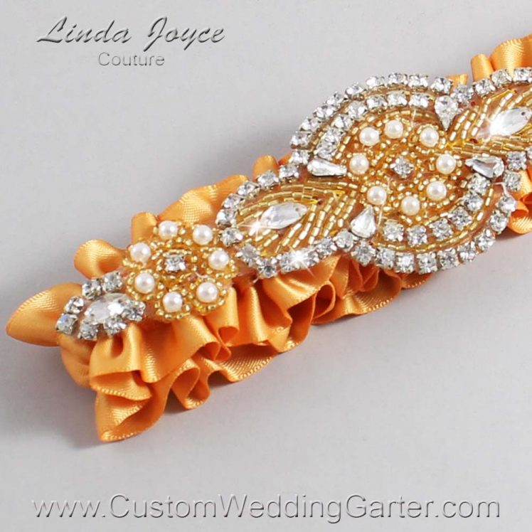 Gold Wedding Garter / Gold Wedding Garters / Wedding Garter / Custom Wedding Garter / Linda Joyce Couture / Charlotte #01-A05-675-Gold_Gold