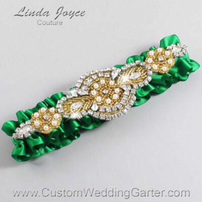 Emerald Green and Gold Wedding Garter / Green Wedding Garters / Charlotte #01-A05-684-Emerald-Green_Gold / Wedding Garters / Custom Wedding Garters / Bridal Garter / Prom Garter / Linda Joyce Couture