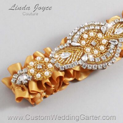Old Gold and Gold Wedding Garter / Gold Wedding Garters / Charlotte #01-A05-690-Old-Gold_Gold / Wedding Garters / Custom Wedding Garters / Bridal Garter / Prom Garter / Linda Joyce Couture