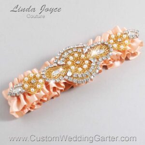 Petal Peach and Gold Wedding Garter / Orange Wedding Garters / Charlotte #01-A05-714-Petal-Peach_Gold / Wedding Garters / Custom Wedding Garters / Bridal Garter / Prom Garter / Linda Joyce Couture