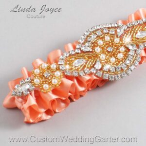 Salmon and Gold Wedding Garter / Orange Wedding Garters / Charlotte #01-A05-720-Salmon_Gold / Wedding Garters / Custom Wedding Garters / Bridal Garter / Prom Garter / Linda Joyce Couture