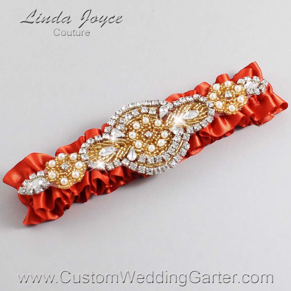 Mandarin-Orange and Gold Wedding Garter / Orange Wedding Garters / Charlotte #01-A05-765-Mandarin-Orange_Gold / Wedding Garters / Custom Wedding Garters / Bridal Garter / Prom Garter / Linda Joyce Couture