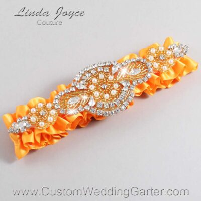 Curry and Gold Wedding Garter / Orange Wedding Garters / Charlotte #01-A05-772-Curry_Gold / Wedding Garters / Custom Wedding Garters / Bridal Garter / Prom Garter / Linda Joyce Couture