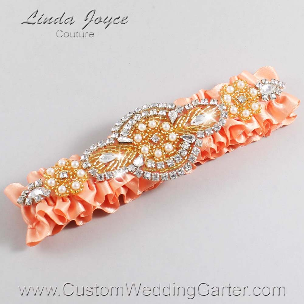 Peach and Gold Wedding Garter / Orange Wedding Garters / Charlotte #01-A05-805-Peach_Gold / Wedding Garters / Custom Wedding Garters / Bridal Garter / Prom Garter / Linda Joyce Couture