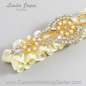 Cosmic Latte and Gold Wedding Garter / Ivory Wedding Garters / Charlotte #01-A05-810-Cosmic-Latte_Gold / Wedding Garters / Custom Wedding Garters / Bridal Garter / Prom Garter / Linda Joyce Couture