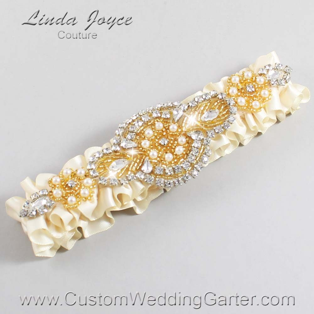 Beige and Gold Wedding Garter / Ivory Wedding Garters / Charlotte #01-A05-815-Beige_Gold / Wedding Garters / Custom Wedding Garters / Bridal Garter / Prom Garter / Linda Joyce Couture