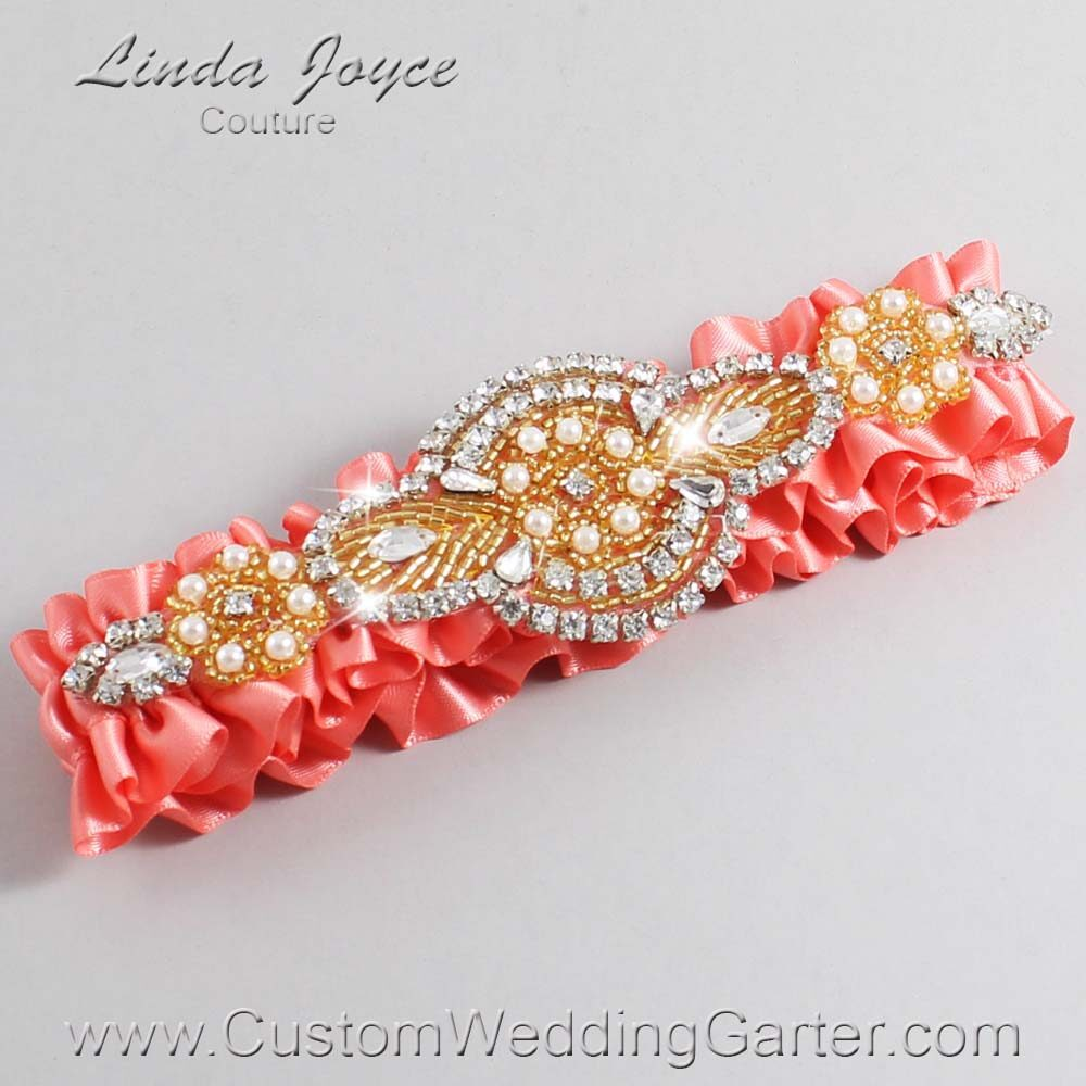 Woodrose and Gold Wedding Garter / Orange Wedding Garters / Charlotte #01-A05-816-Woodrose_Gold / Wedding Garters / Custom Wedding Garters / Bridal Garter / Prom Garter / Linda Joyce Couture