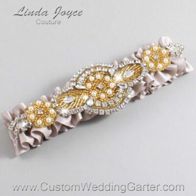 Carmandy and Gold Wedding Garter / Gray Wedding Garters / Charlotte #01-A05-818-Carmandy_Gold / Wedding Garters / Custom Wedding Garters / Bridal Garter / Prom Garter / Linda Joyce Couture