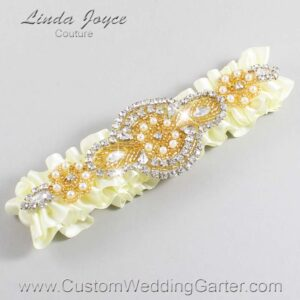 Candlelight and Gold Wedding Garter / Ivory Wedding Garters / Charlotte #01-A05-820-Candlelight_Gold / Wedding Garters / Custom Wedding Garters / Bridal Garter / Prom Garter / Linda Joyce Couture