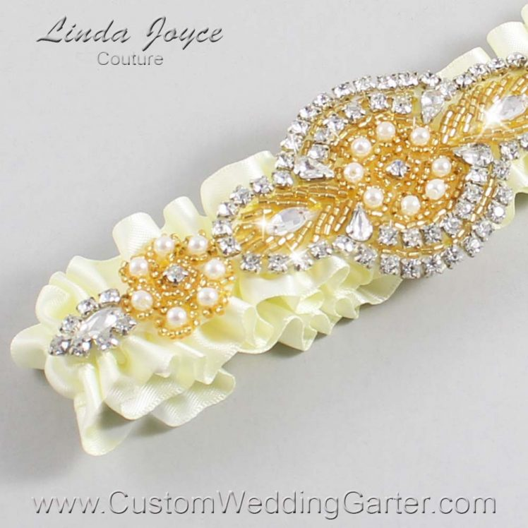 Candlelight Wedding Garter / Ivory Wedding Garters / Wedding Garter / Custom Wedding Garter / Linda Joyce Couture / Charlotte #01-A05-820-Candlelight_Gold