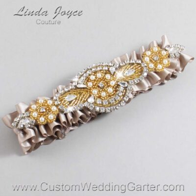 Taupe and Gold Wedding Garter / Brown Wedding Garters / Charlotte #01-A05-823-Taupe_Gold / Wedding Garters / Custom Wedding Garters / Bridal Garter / Prom Garter / Linda Joyce Couture