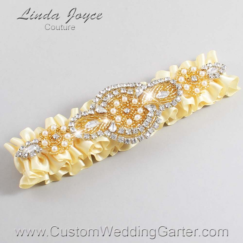 Buttermilk and Gold Wedding Garter / Yellow Wedding Garters / Charlotte #01-A05-824-Buttermilk_Gold / Wedding Garters / Custom Wedding Garters / Bridal Garter / Prom Garter / Linda Joyce Couture