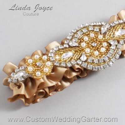 Desert Sand and Gold Wedding Garter / Brown Wedding Garters / Charlotte #01-A05-830-Desert-Sand_Gold / Wedding Garters / Custom Wedding Garters / Bridal Garter / Prom Garter / Linda Joyce Couture