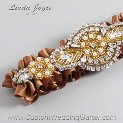 Chipmunk and Gold Wedding Garter / Brown Wedding Garters / Charlotte #01-A05-845-Chipmunk_Gold / Wedding Garters / Custom Wedding Garters / Bridal Garter / Prom Garter / Linda Joyce Couture