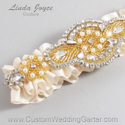 Antique White and Gold Wedding Garter / Ivory Wedding Garters / Charlotte #01-A05-860-Antique-White_Gold / Wedding Garters / Custom Wedding Garters / Bridal Garter / Prom Garter / Linda Joyce Couture