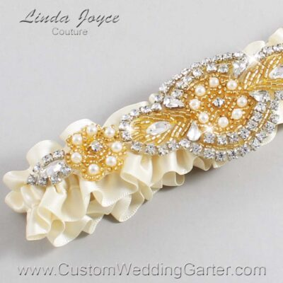 Ivory and Gold Wedding Garter / Ivory Wedding Garters / Charlotte #01-A05-871-Ivory_Gold / Wedding Garters / Custom Wedding Garters / Bridal Garter / Prom Garter / Linda Joyce Couture