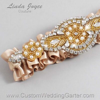 Tan and Gold Wedding Garter / Brown Wedding Garters / Charlotte #01-A05-892-Tan_Gold / Wedding Garters / Custom Wedding Garters / Bridal Garter / Prom Garter / Linda Joyce Couture