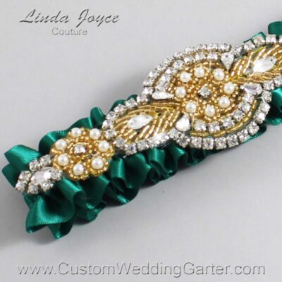 Hunter Green and Gold Wedding Garter / Green Wedding Garters / Charlotte #01-A05-925-Hunter-Green_Gold / Wedding Garters / Custom Wedding Garters / Bridal Garter / Prom Garter / Linda Joyce Couture