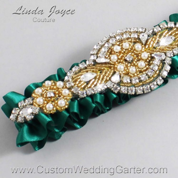 Hunter Green Wedding Garter / Green Wedding Garters / Wedding Garter / Custom Wedding Garter / Linda Joyce Couture / Charlotte #01-A05-925-Hunter-Green_Gold