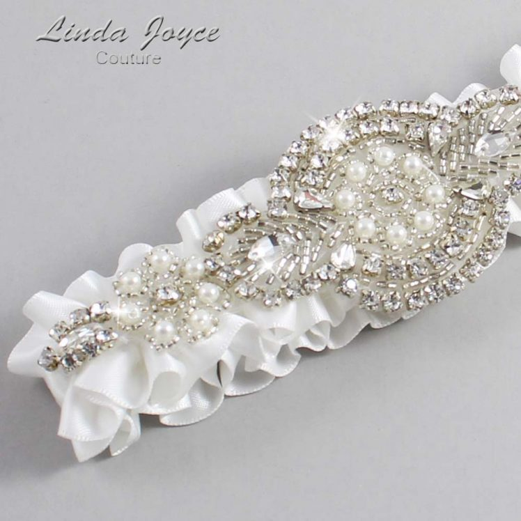 Off White Wedding Garter / White Wedding Garters / Wedding Garter / Custom Wedding Garter / Linda Joyce Couture / Charlotte #01-A06-000-Off-White_Silver