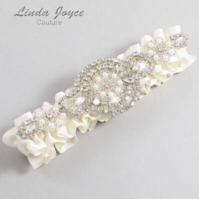 Old Lace Wedding Garter / Ivory Wedding Garters / Charlotte #01-A06-028-Old-Lace_Silver / Wedding Garters / Custom Wedding Garters / Bridal Garter / Prom Garter / Linda Joyce Couture