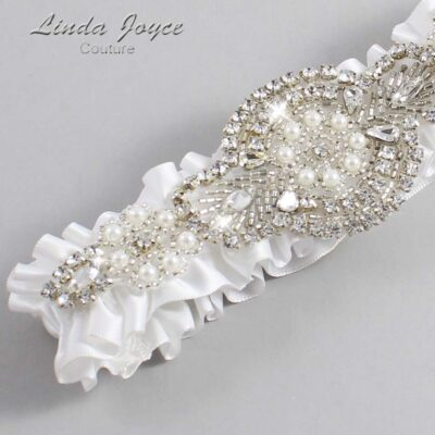 White Wedding Garter / White Wedding Garters / Charlotte #01-A06-112-White_Silver / Wedding Garters / Custom Wedding Garters / Bridal Garter / Prom Garter / Linda Joyce Couture