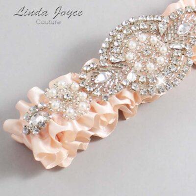 Nude Wedding Garter / Orange Wedding Garters / Charlotte #01-A06-113-Nude_Silver / Wedding Garters / Custom Wedding Garters / Bridal Garter / Prom Garter / Linda Joyce Couture