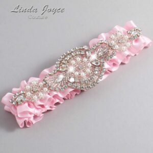Light Pink Wedding Garter / Pink Wedding Garters / Charlotte #01-A06-145-Light-Pink_Silver / Wedding Garters / Custom Wedding Garters / Bridal Garter / Prom Garter / Linda Joyce Couture