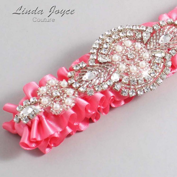 Coral Rose Wedding Garter / Pink Wedding Garters / Wedding Garter / Custom Wedding Garter / Linda Joyce Couture / Charlotte #01-A06-210-Coral-Rose_Silver