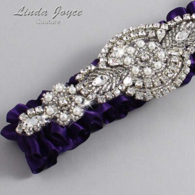Plum Wedding Garter / Purple Wedding Garters / Charlotte #01-A06-285-Plum_Silver / Wedding Garters / Custom Wedding Garters / Bridal Garter / Prom Garter / Linda Joyce Couture