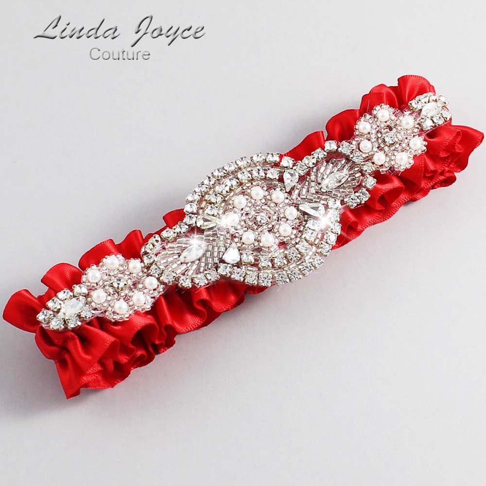 Red Wedding Garter / Red Wedding Garters / Charlotte #01-A06-299-Red_Silver / Wedding Garters / Custom Wedding Garters / Bridal Garter / Prom Garter / Linda Joyce Couture