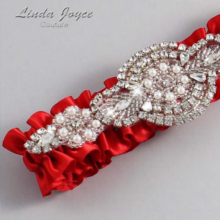 Red Wedding Garter / Red Wedding Garters / Wedding Garter / Custom Wedding Garter / Linda Joyce Couture / Charlotte #01-A06-299-Red_Silver